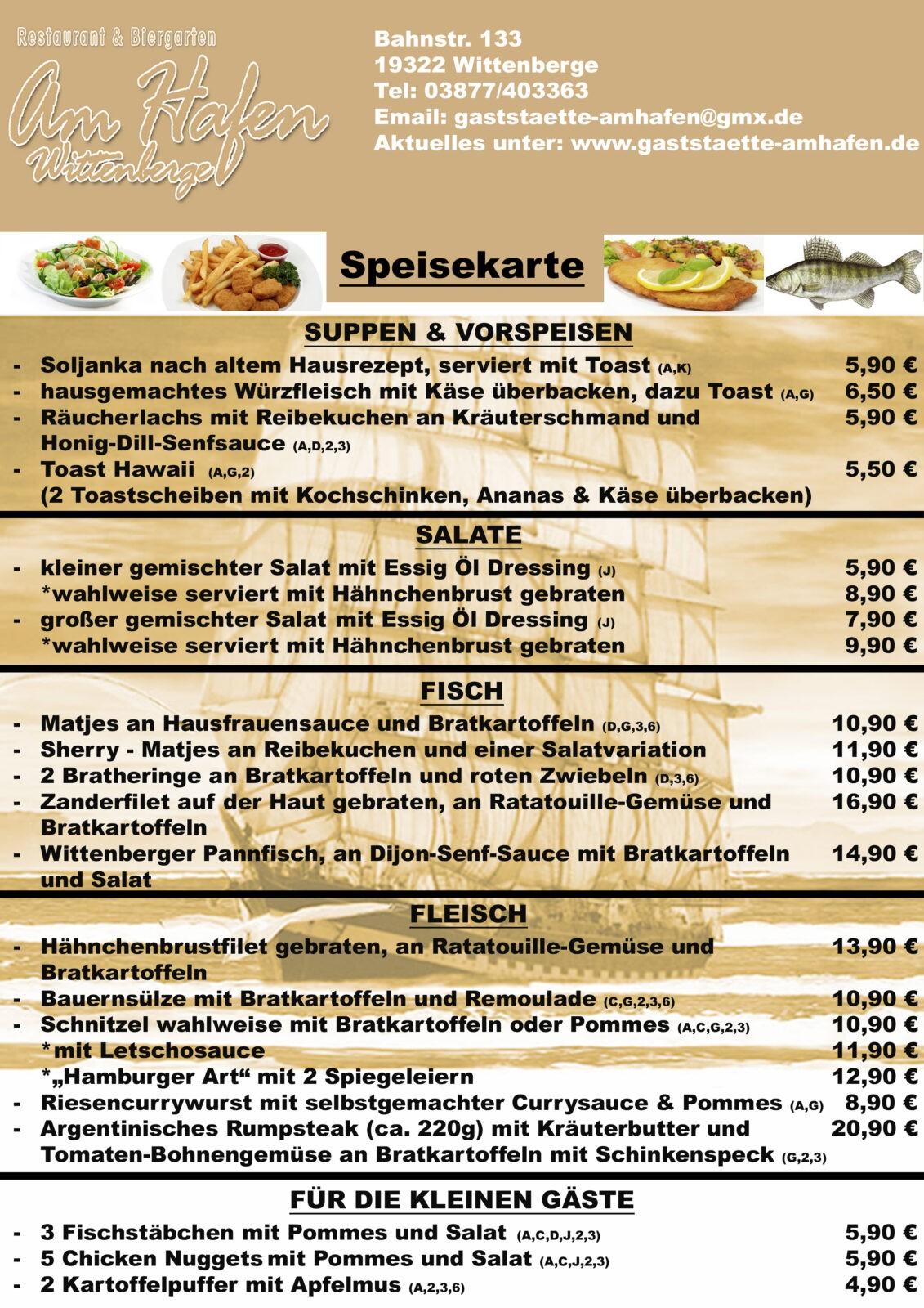 Gerichte - Gaststätte am Hafen
